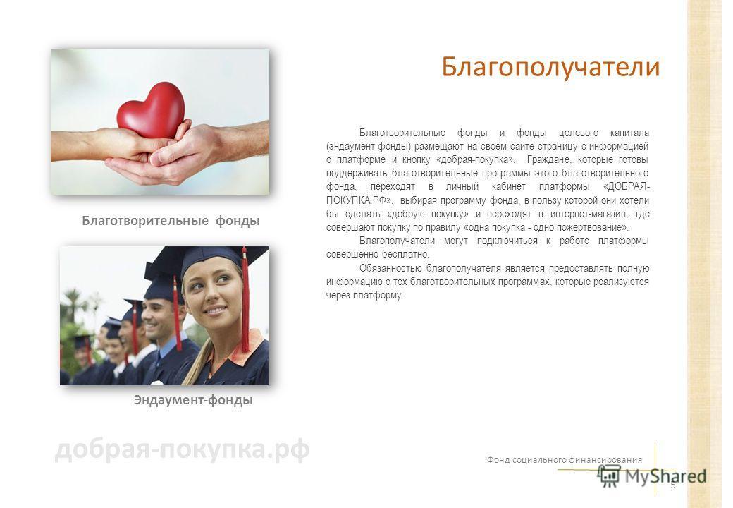 Благополучатели Благотворительные фонды и фонды целевого капитала (эндаумент-фонды) размещают на своем сайте страницу с информацией о платформе и кнопку «добрая-покупка». Граждане, которые готовы поддерживать благотворительные программы этого благотв