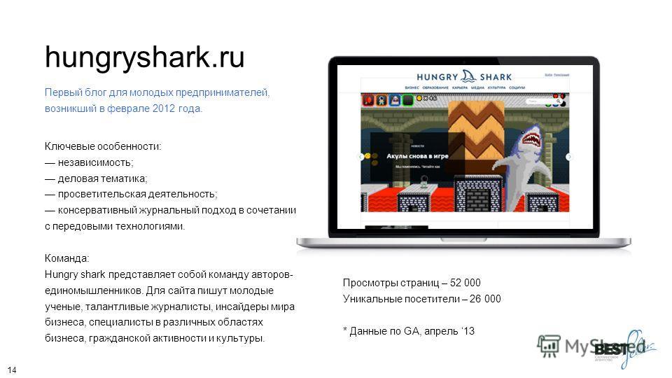 hungryshark.ru Первый блог для молодых предпринимателей, возникший в феврале 2012 года. Ключевые особенности: независимость; деловая тематика; просветительская деятельность; консервативный журнальный подход в сочетании с передовыми технологиями. Кома