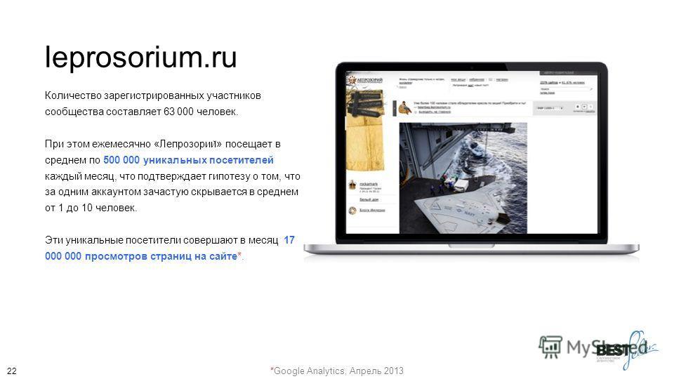 leprosorium.ru Количество зарегистрированных участников сообщества составляет 63 000 человек. При этом ежемесячно «Лепрозории ̆ » посещает в среднем по 500 000 уникальных посетителей каждый месяц, что подтверждает гипотезу о том, что за одним аккаунт