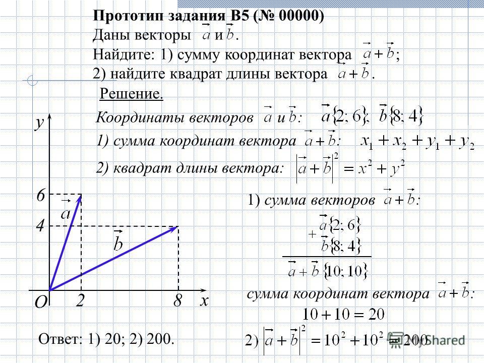 Координаты векторов и : 1) сумма координат вектора : 2) квадрат длины вектора: O Прототип задания B5 ( 00000) Даны векторы и. Найдите: 1) сумму координат вектора ; 2) найдите квадрат длины вектора. Решение. x 8 y 2 4 6 Ответ: 1) 20; 2) 200. 1) сумма