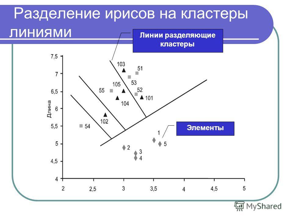 Разделение ирисов на кластеры линиями Элементы Линии разделяющие кластеры