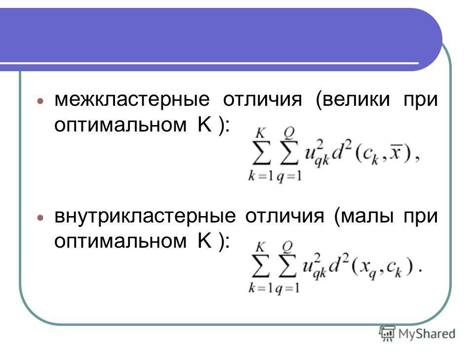 меж кластерные отличия (велики при оптимальном K ): внутри кластерные отличия (малы при оптимальном K ):