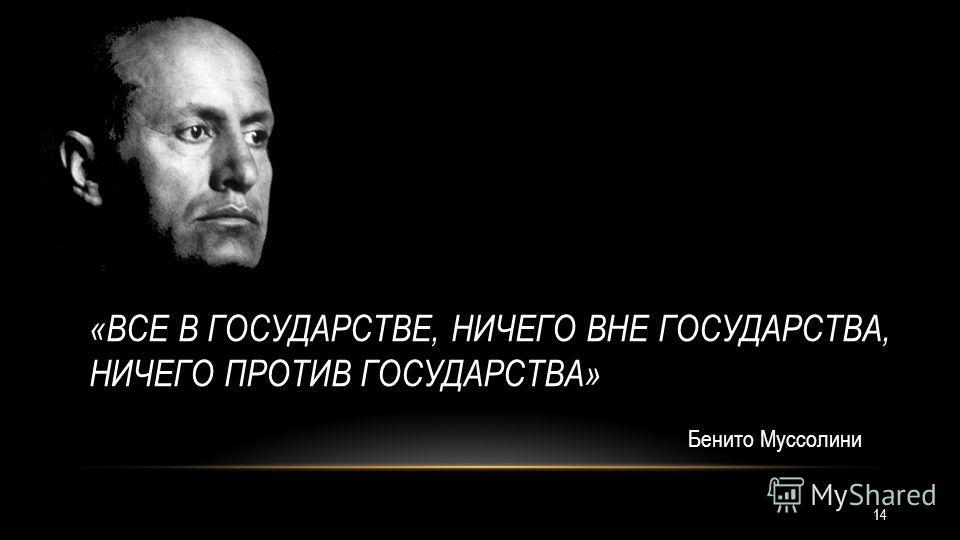 «ВСЕ В ГОСУДАРСТВЕ, НИЧЕГО ВНЕ ГОСУДАРСТВА, НИЧЕГО ПРОТИВ ГОСУДАРСТВА» Бенито Муссолини 14
