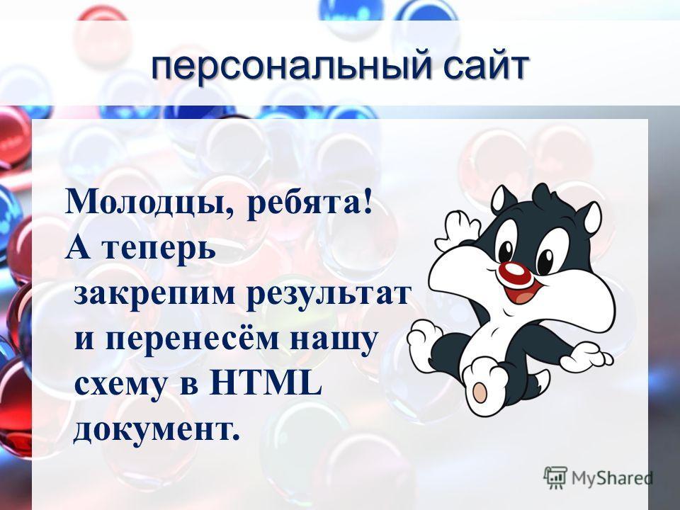 персональный сайт Молодцы, ребята! А теперь закрепим результат и перенесём нашу схему в HTML документ.