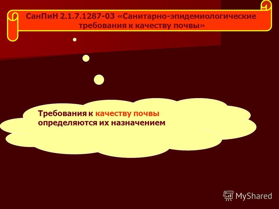 Сан ПиН 2.1.7.1287-03 «Санитарно-эпидемиологические требования к качеству почвы» Требования к качеству почвы определяются их назначением