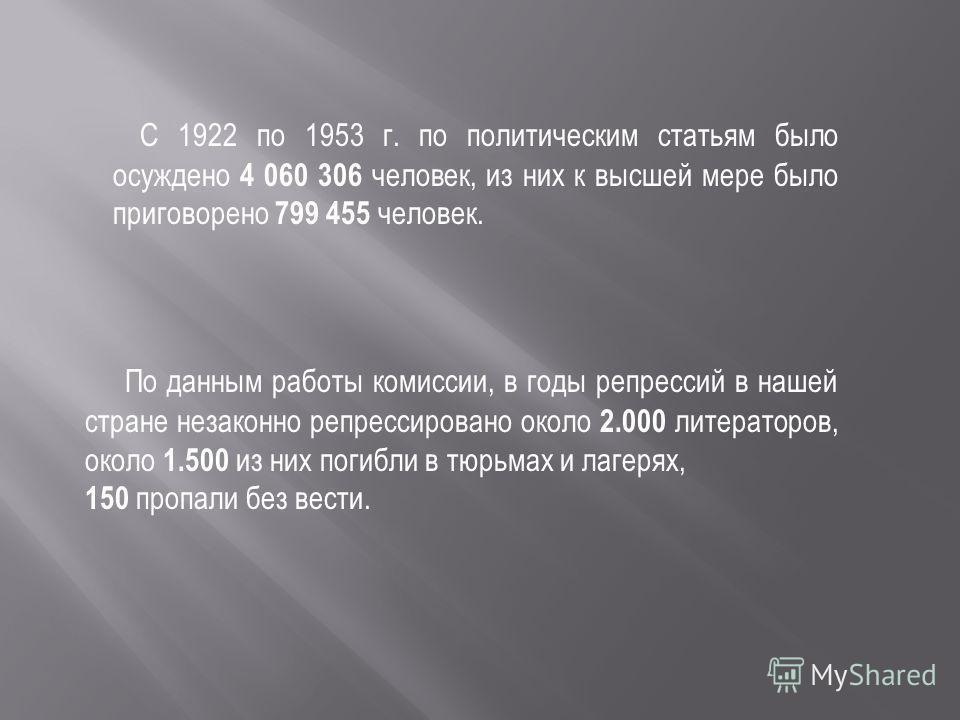С 1922 по 1953 г. по политическим статьям было осуждено 4 060 306 человек, из них к высшей мере было приговорено 799 455 человек. По данным работы комиссии, в годы репрессий в нашей стране незаконно репрессировано около 2.000 литераторов, около 1.500