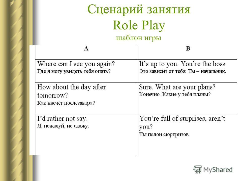Сценарий занятия Role Play шаблон игры