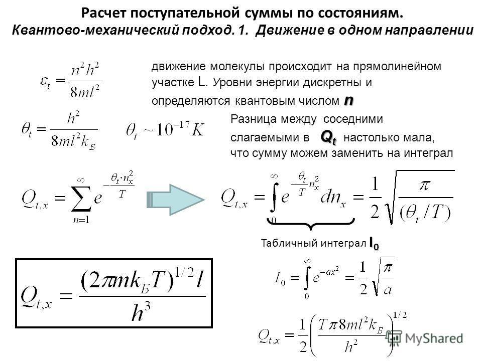 Расчет поступательной суммы по состояниям. Квантово-механический подход. 1. Движение в одном направлении n движение молекулы происходит на прямолинейном участке L. Уровни энергии дискретны и определяются квантовым числом n Q t Разница между соседними