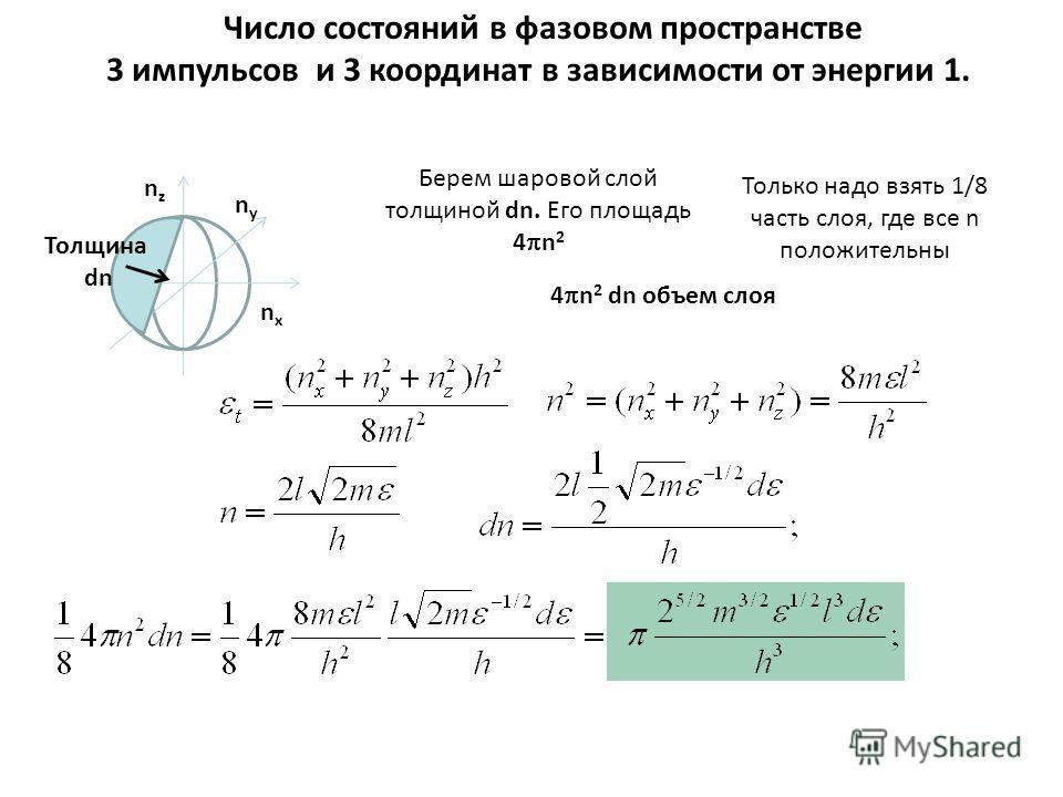 Число состояний в фазовом пространстве 3 импульсов и 3 координат в зависимости от энергии 1. Берем шаровой слой толщиной dn. Его площадь 4 n 2 4 n 2 dn объем слоя nxnx nznz nyny Толщина dn Только надо всять 1/8 часть слоя, где все n положительны