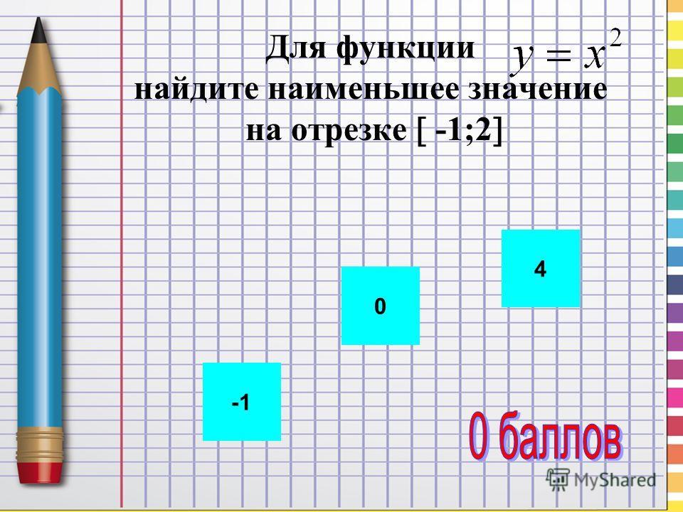 Для функции найдите наименьшее значение на отрезке -1;2 0 4