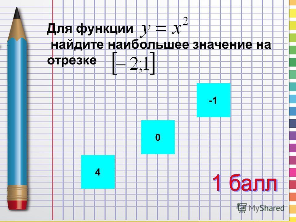 4 0 Для функции найдите наибольшее значение на отрезке