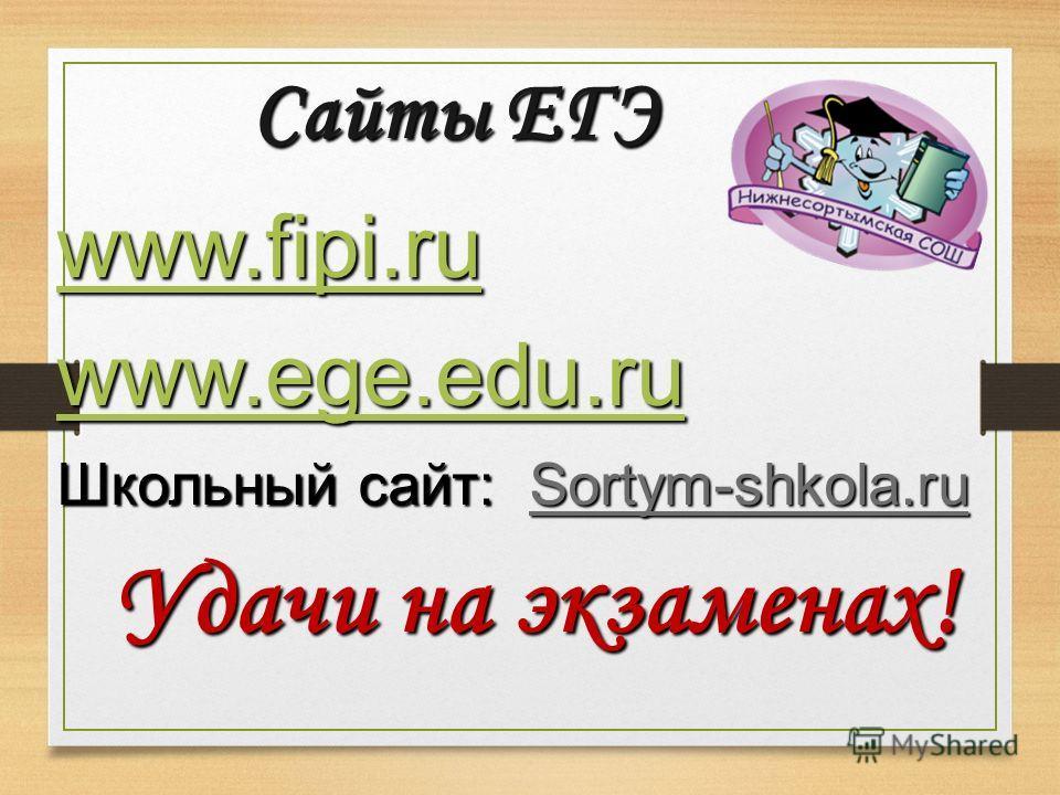 Сайты ЕГЭ www.fipi.ru www.ege.edu.ru Школьный сайт: Sortym-shkola.ru Удачи на экзаменах!