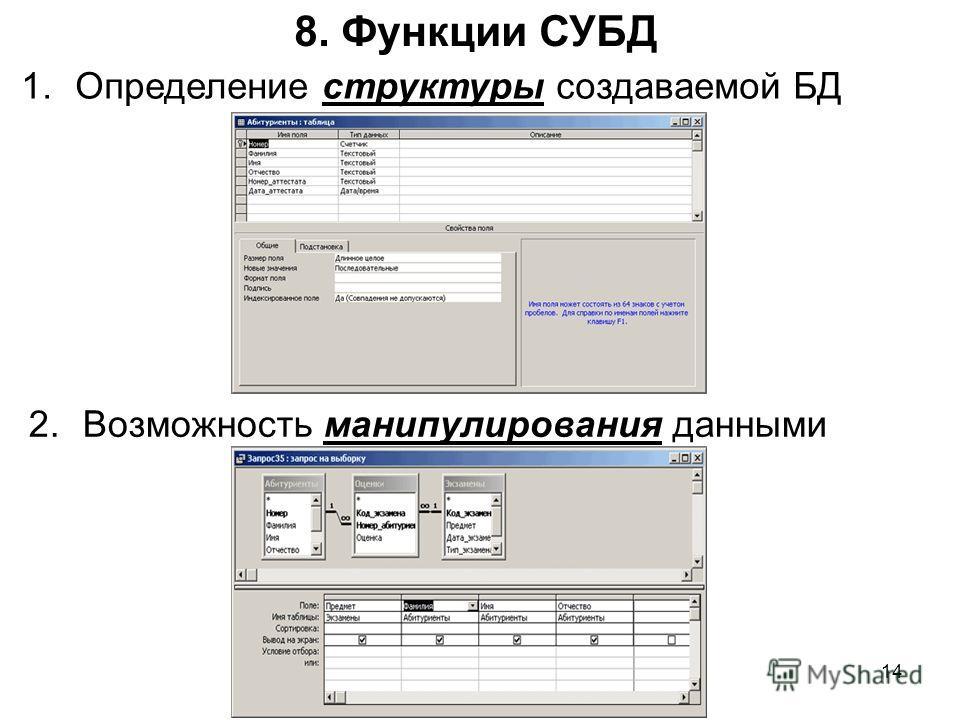 8. Функции СУБД 1. Определение структуры создаваемой БД 14 2. Возможность манипулирования данными