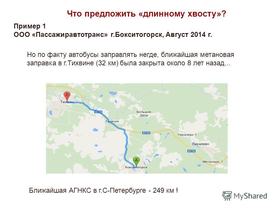 Но по факту автобусы заправлять негде, ближайшая метановая заправка в г.Тихвине (32 км) была закрыта около 8 лет назад... Ближайшая АГНКС в г.С-Петербурге - 249 км ! Что предложить «длинному хвосту»? Пример 1 ООО «Пассажиравтотранс» г.Бокситогорск, А