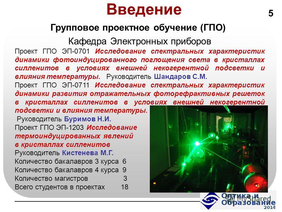 Введение Кафедра Электронных приборов Проект ГПО ЭП-0701 Исследование спектральных характеристик динамики фотоиндуцированного поглощения света в кристаллах селенитов в условиях внешней некогерентной подсветки и влияния температуры. Руководитель Шанда