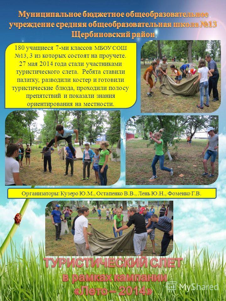 180 учащиеся 7-ми классов МБОУ СОШ 13, 3 из которых состоят на проучете. 27 мая 2014 года стали участниками туристического слета. Ребята ставили палатку, разводили костер и готовили туристические блюда, проходили полосу препятствий и показали знания