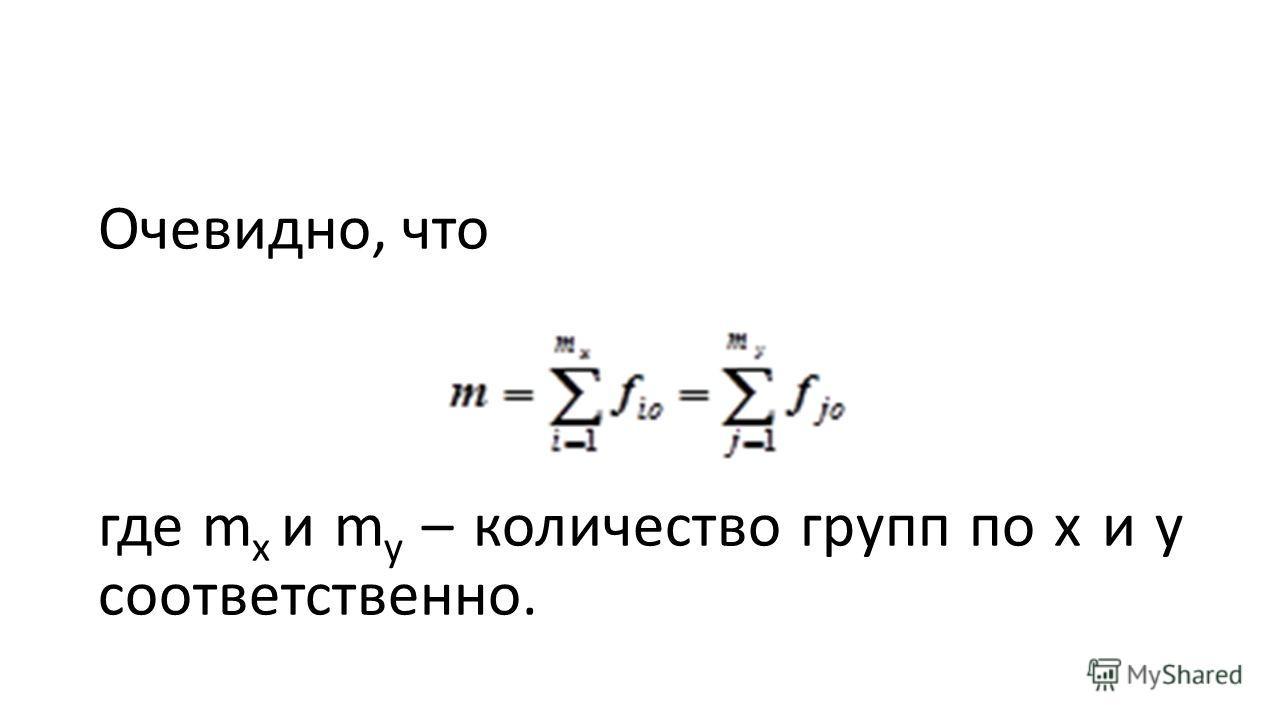 Очевидно, что где m x и m y – количество групп по x и y соответственно.