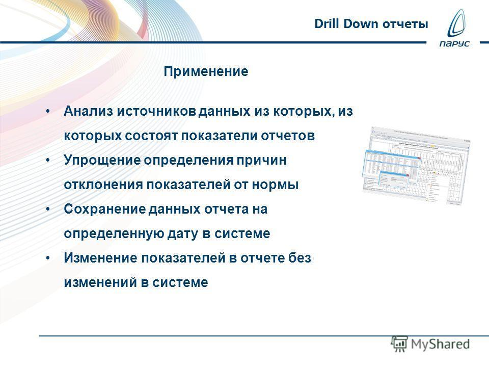 Drill Down отчеты Анализ источников данных из которых, из которых состоят показатели отчетов Упрощение определения причин отклонения показателей от нормы Сохранение данных отчета на определенную дату в системе Изменение показателей в отчете без измен
