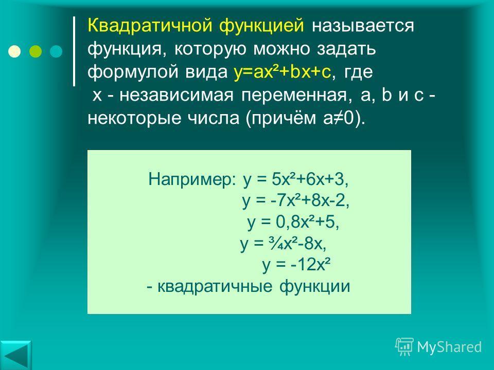 Квадратичной функцией называется функция, которую можно задать формулой вида y=ax²+bx+c, где х - независимая переменная, a, b и с - некоторые числа (причём а 0). Например: у = 5 х²+6 х+3, у = -7 х²+8 х-2, у = 0,8 х²+5, у = ¾х²-8 х, у = -12 х² - квадр