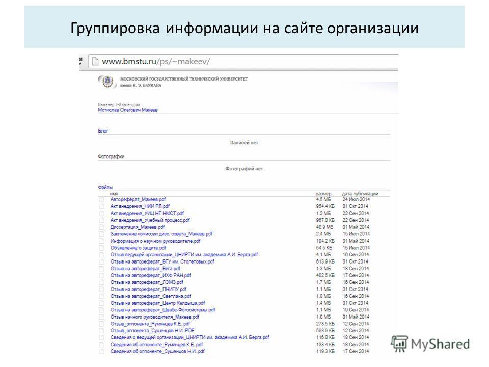 Группировка информации на сайте организации