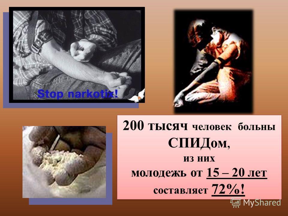 200 тысяч человек больны СПИДом, из них молодежь от 15 – 20 лет составляет 72%! 200 тысяч человек больны СПИДом, из них молодежь от 15 – 20 лет составляет 72%!