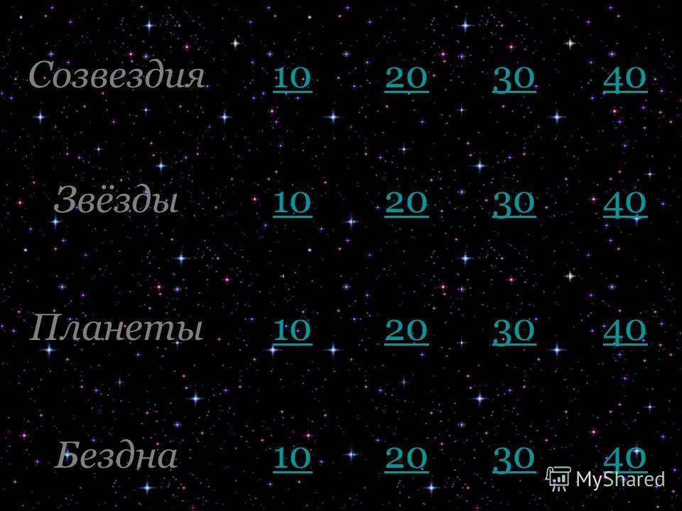 Созвездия 10 20 30 40 Звёзды 10 20 30 40 Планеты 10 20 30 40 Бездна 10 20 30 40