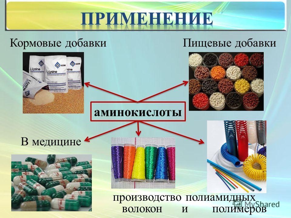 Кормовые добавки Пищевые добавки В медицине производство полиамидных волокон и полимеров аминокислоты