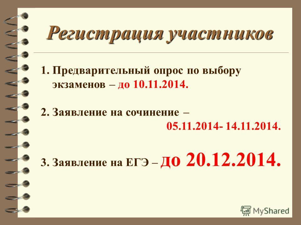 1. Предварительный опрос по выбору экзаменов – до 10.11.2014. 2. Заявление на сочинение – 05.11.2014- 14.11.2014. 3. Заявление на ЕГЭ – до 20.12.2014. Регистрация участников