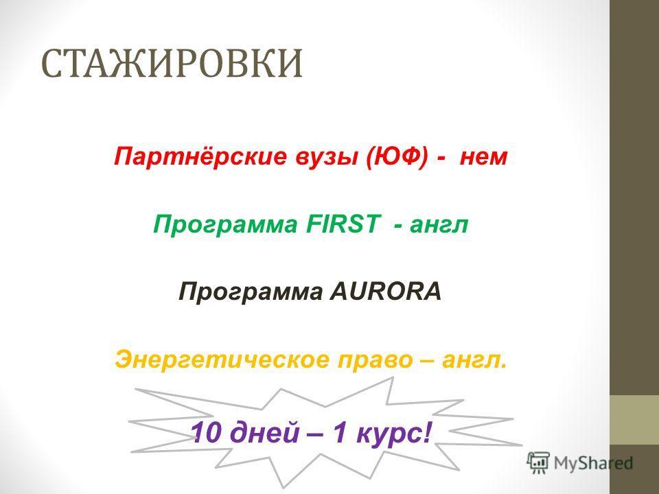 СТАЖИРОВКИ Партнёрские вузы (ЮФ) - нем Программа FIRST - англ Программа AURORA Энергетическое право – англ. 10 дней – 1 курс!