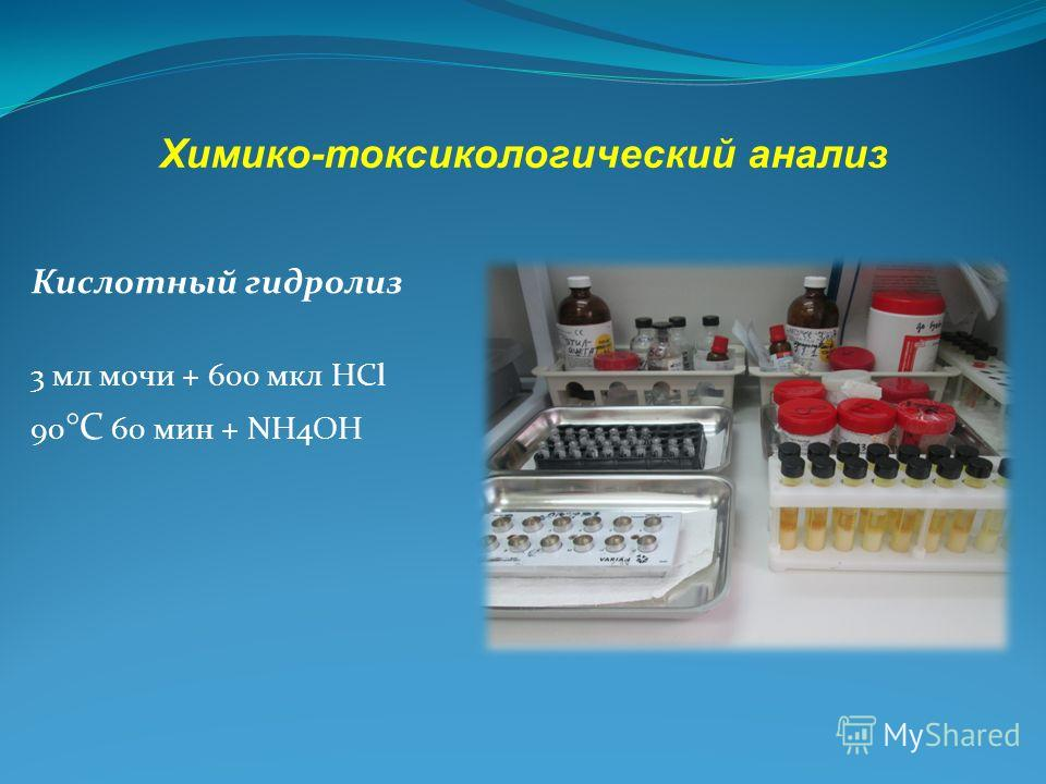 Кислотный гидролиз 3 мл мочи + 600 мкл HCl 90 °С 60 мин + NH4OH Химико-токсикологический анализ