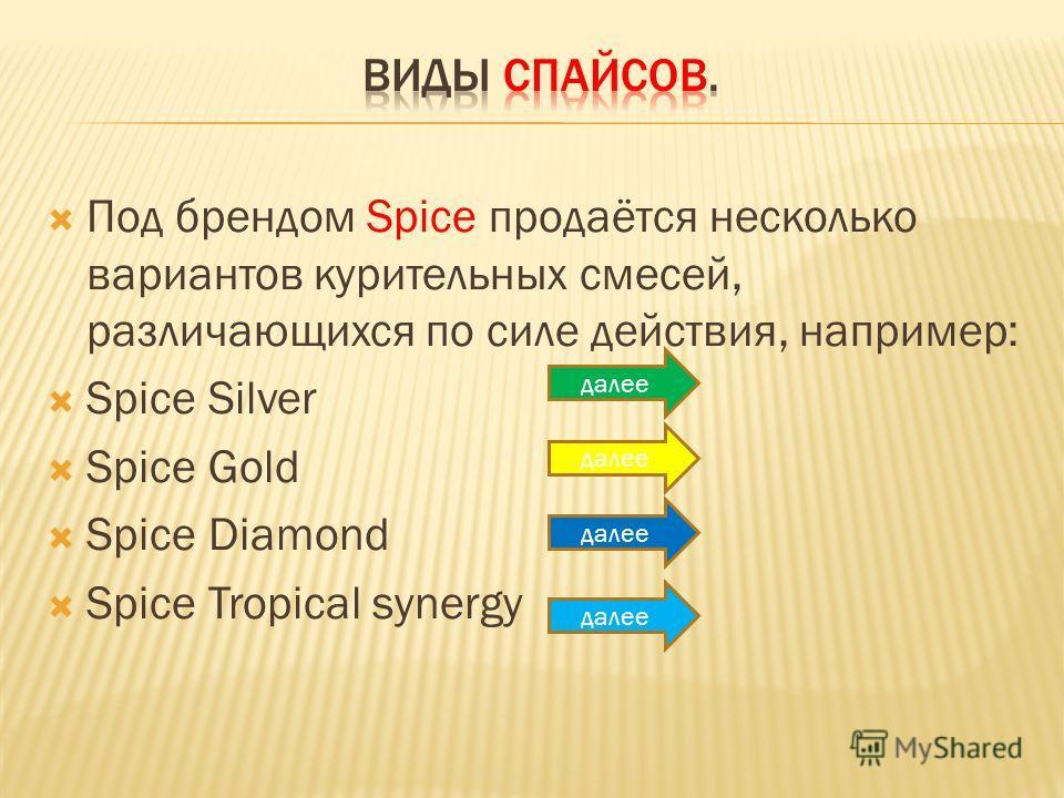 Под брендом Spice продаётся несколько вариантов курительных смесей, различающихся по силе действия, например: Spice Silver Spice Gold Spice Diamond Spice Tropical synergy далее