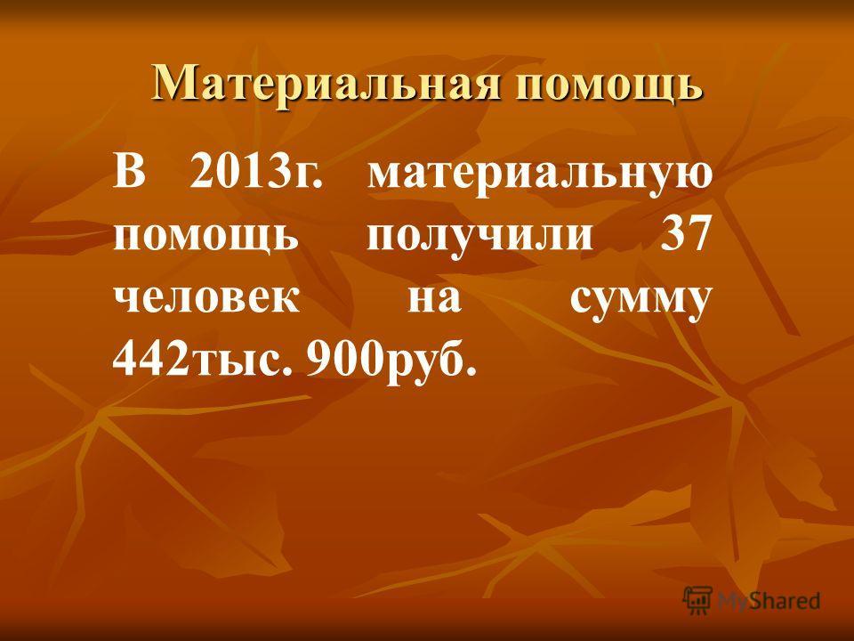 Материальная помощь В 2013 г. материальную помощь получили 37 человек на сумму 442 тыс. 900 руб.