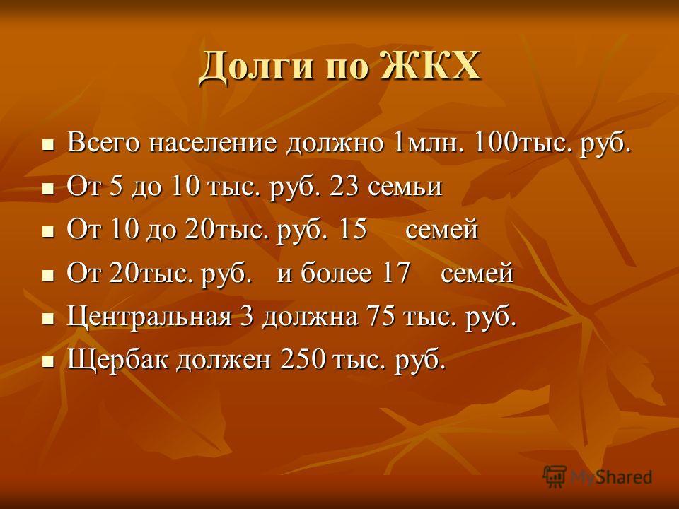 Долги по ЖКХ Всего население должно 1 млн. 100 тыс. руб. Всего население должно 1 млн. 100 тыс. руб. От 5 до 10 тыс. руб. 23 семьи От 5 до 10 тыс. руб. 23 семьи От 10 до 20 тыс. руб. 15 семей От 10 до 20 тыс. руб. 15 семей От 20 тыс. руб. и более 17