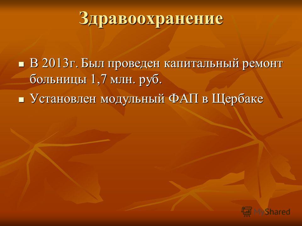 Здравоохранение В 2013 г. Был проведен капитальный ремонт больницы 1,7 млн. руб. В 2013 г. Был проведен капитальный ремонт больницы 1,7 млн. руб. Установлен модульный ФАП в Щербаке Установлен модульный ФАП в Щербаке