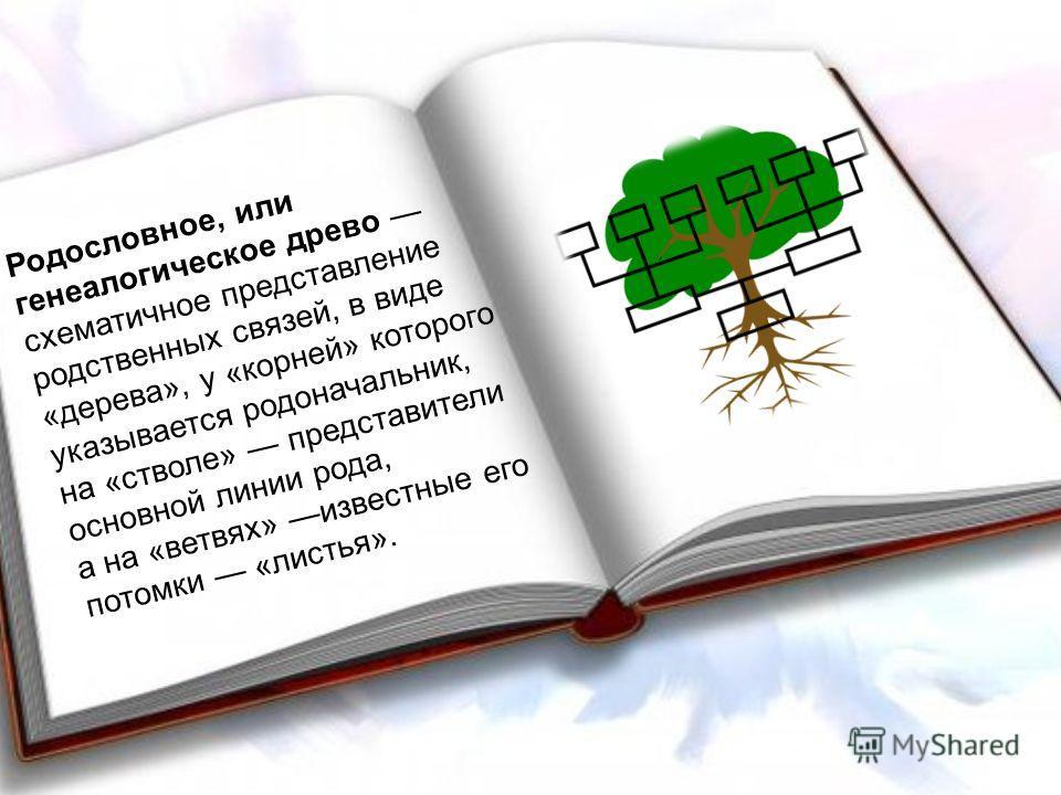 Родословное, или генеалогическое древо схематичное представление родственных связей, в виде «дерева», у «корней» которого указывается родоначальник, на «стволе» представители основной линии рода, а на «ветвях» известные его потомки «листья».