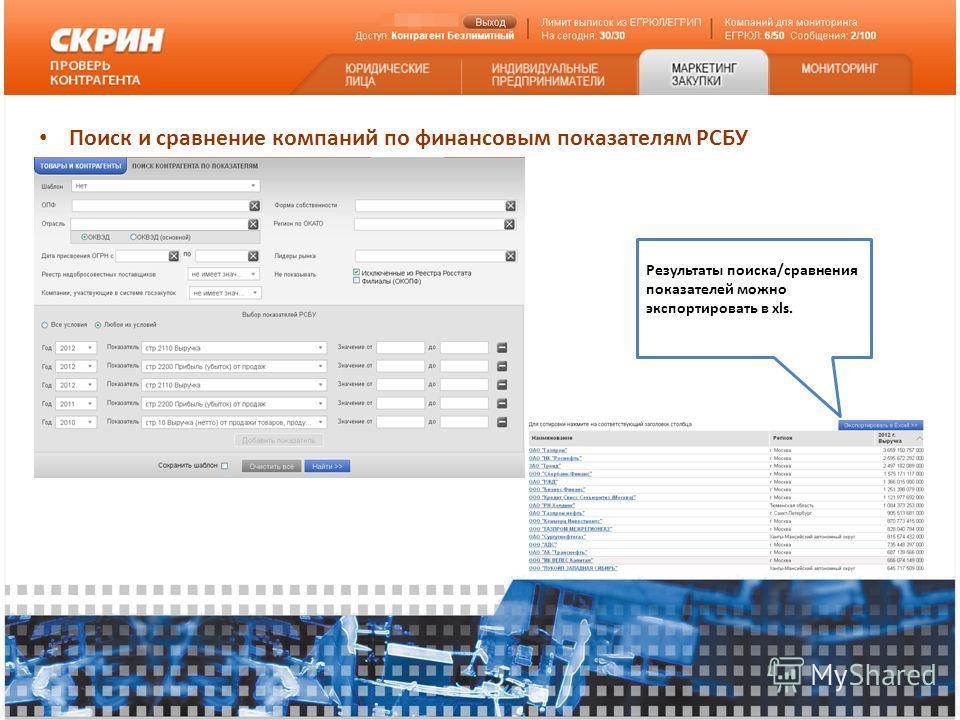 Поиск и сравнение компаний по финансовым показателям РСБУ Результаты поиска/сравнения показателей можно экспортировать в xls.