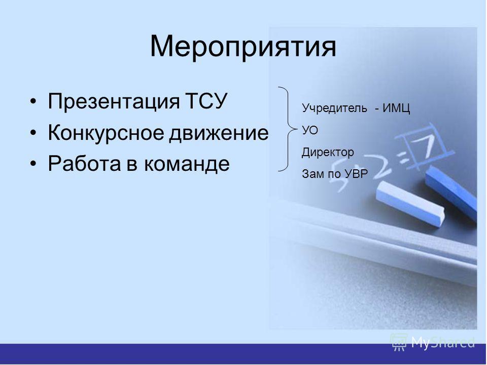 Мероприятия Презентация ТСУ Конкурсное движение Работа в команде Учредитель - ИМЦ УО Директор Зам по УВР