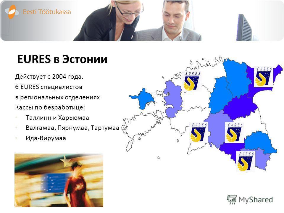 EURES в Эстонии Действует с 2004 года. 6 EURES специалистов в региональных отделениях Кассы по безработице: Таллинн и Харьюмаа Валгамаа, Пярнумаа, Тартумаа Ида-Вирумаа
