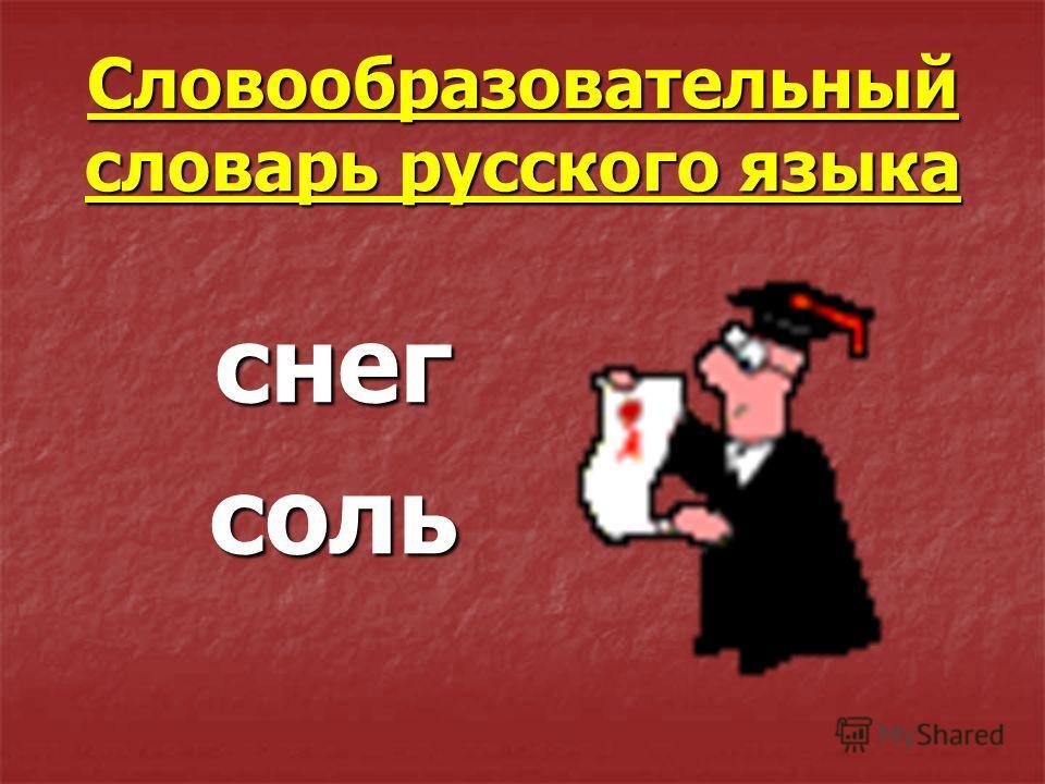 Словообразовательный словарь русского языка снег соль