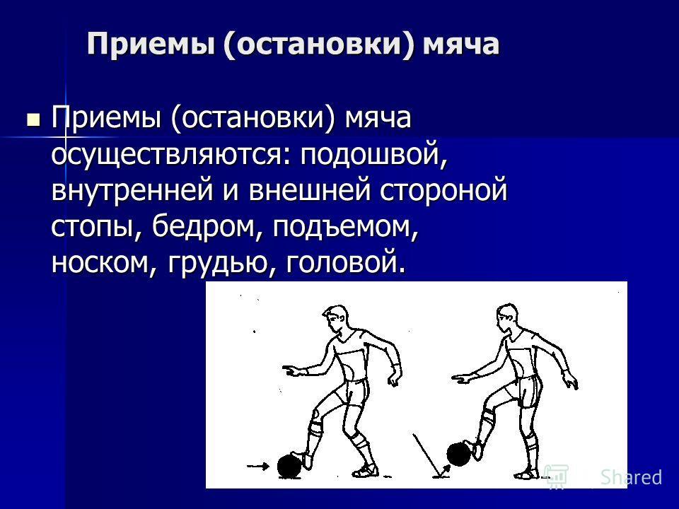 Приемы (остановки) мяча Приемы (остановки) мяча осуществляются: подошвой, внутренней и внешней стороной стопы, бедром, подъемом, носком, грудью, головой. Приемы (остановки) мяча осуществляются: подошвой, внутренней и внешней стороной стопы, бедром, п