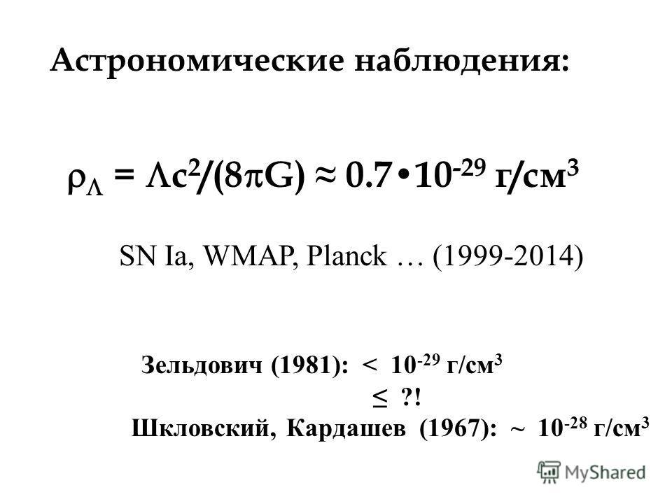 Астрономические наблюдения: = с 2 /(8 G) 0.710 -29 г/см 3 SN Ia, WMAP, Planck … (1999-2014) Зельдович (1981): < 10 -29 г/см 3 ?! Шкловский, Кардашев (1967): ~ 10 -28 г/см 3