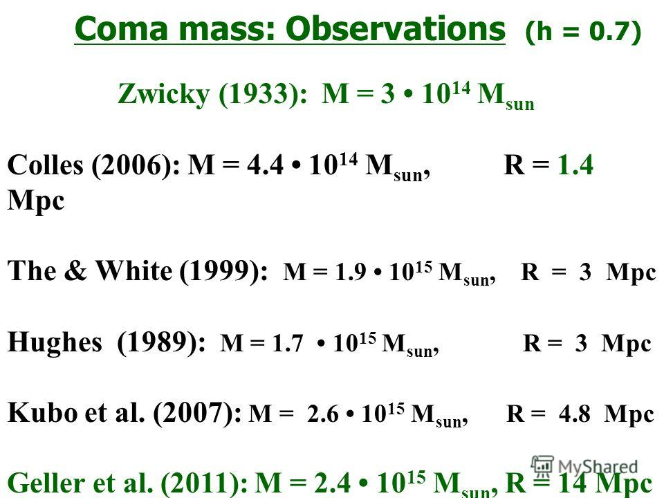 Coma mass: Observations (h = 0.7) Zwicky (1933): M = 3 10 14 M sun Colles (2006): M = 4.4 10 14 M sun, R = 1.4 Mpc The & White (1999): M = 1.9 10 15 M sun, R = 3 Mpc Hughes (1989): M = 1.7 10 15 M sun, R = 3 Mpc Kubo et al. (2007): M = 2.6 10 15 M su