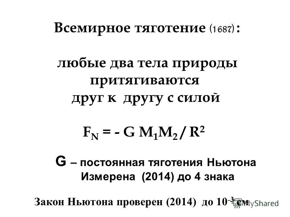Всемирное тяготение (1687) : любые два тела природы притягиваются друг к другу с силой F N = - G M 1 М 2 / R 2 G – постоянная тяготения Ньютона Измерена (2014) до 4 знака Закон Ньютона проверен (2014) до 10 -3 см