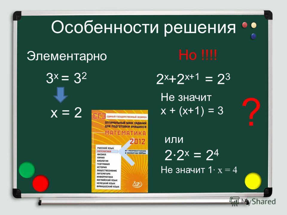Особенности решения 3 х = 3 2 х = 2 Но !!!! или 2·2 х = 2 4 Не значит 1 · х = 4 2 х +2 х+1 = 2 3 Не значит х + (х+1) = 3 Элементарно ?