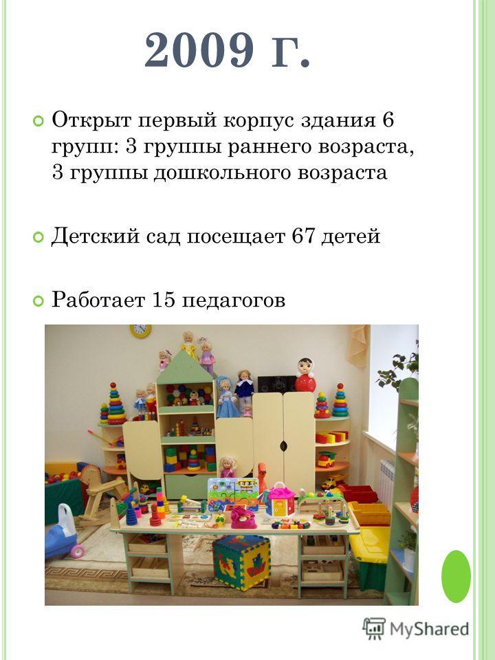 2009 Г. Открыт первый корпус здания 6 групп: 3 группы раннего возраста, 3 группы дошкольного возраста Детский сад посещает 67 детей Работает 15 педагогов