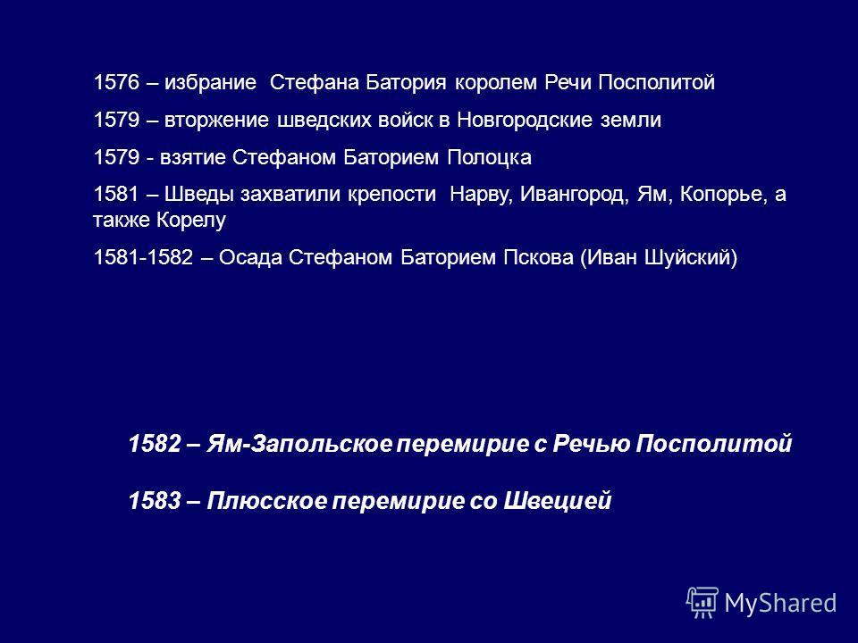 1576 – избрание Стефана Батория королем Речи Посполитой 1579 – вторжение шведских войск в Новгородские земли 1579 - взятие Стефаном Баторием Полоцка 1581 – Шведы захватили крепости Нарву, Ивангород, Ям, Копорье, а также Корелу 1581-1582 – Осада Стефа