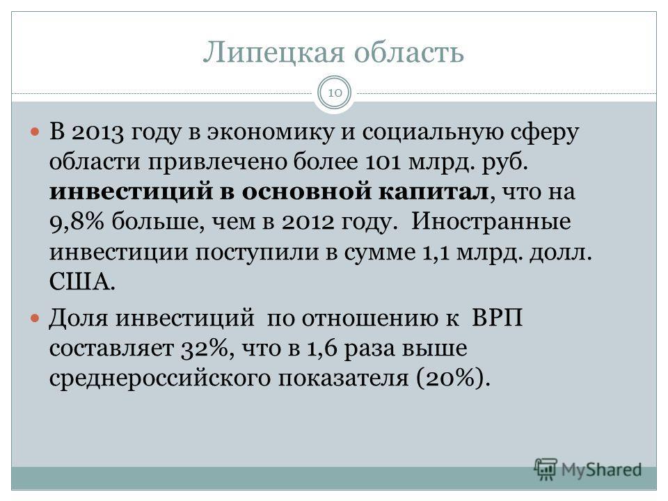 Липецкая область В 2013 году в экономику и социальную сферу области привлечено более 101 млрд. руб. инвестиций в основной капитал, что на 9,8% больше, чем в 2012 году. Иностранные инвестиции поступили в сумме 1,1 млрд. долл. США. Доля инвестиций по о