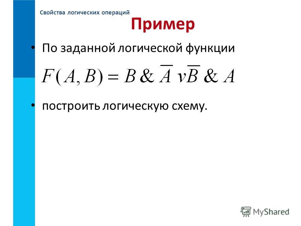 Свойства логических операций Пример По заданной логической функции построить логическую схему.