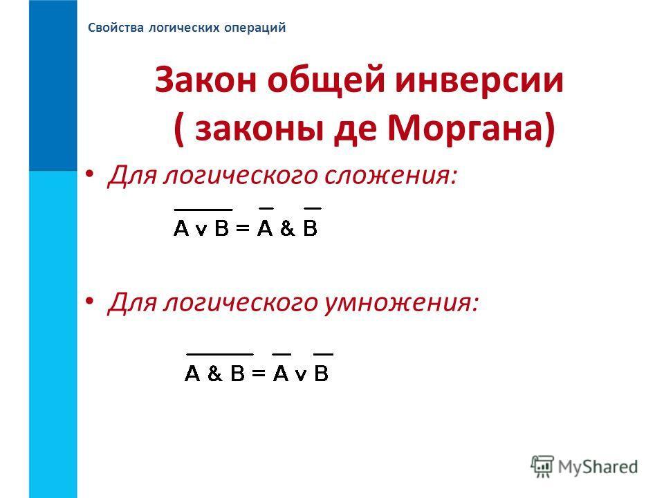 Свойства логических операций Закон общей инверсии ( законы де Моргана) Для логического сложения: Для логического умножения: