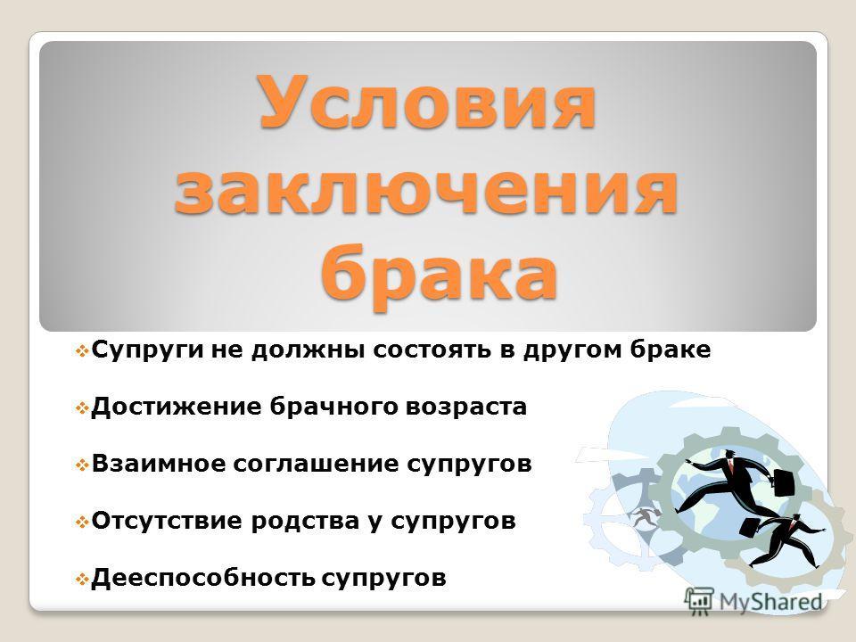 Условия заключения брака Супруги не должны состоять в другом браке Достижение брачного возраста Взаимное соглашение супругов Отсутствие родства у супругов Дееспособность супругов